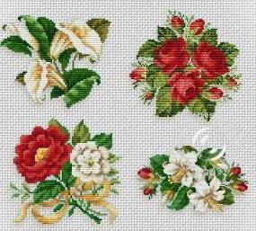 Оригинал схемы вышивки «Мини-букетики ...: www.xrest.ru/original/Мини-букетики-96938