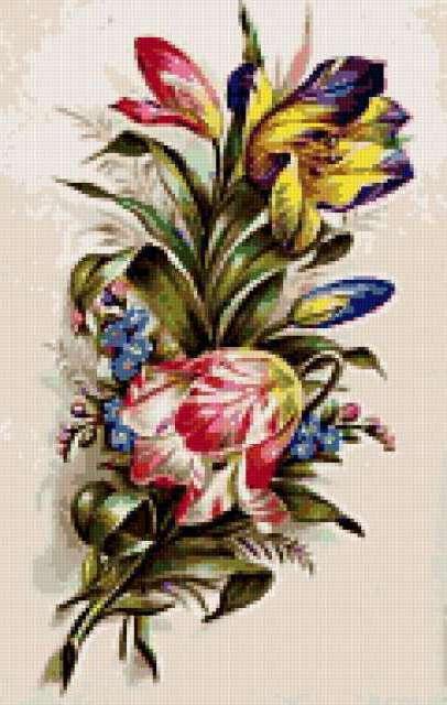 Старинная открытка с цветами,