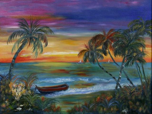 Морской пейзаж, море, лодка,