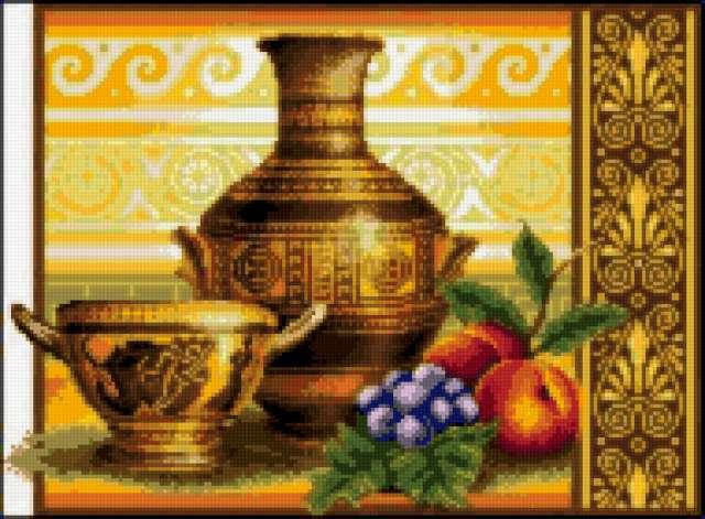 Греческие вазы, посуда, фрукты