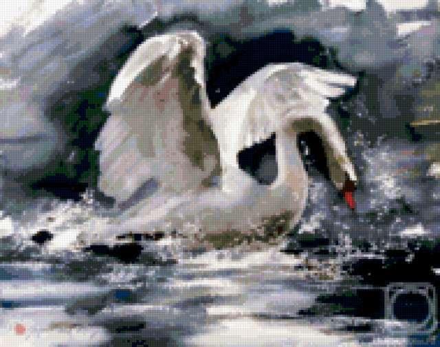 Белый лебедь на пруду,