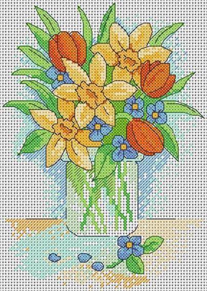 Нарциссы и тюльпаны, оригинал