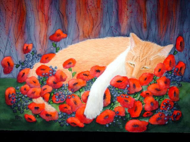 Кот в маках, маки, лето, цветы