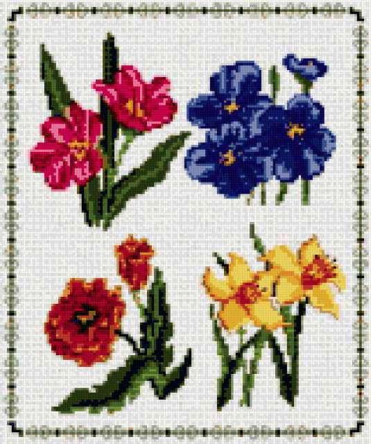 Краски цветов 9, панно, цветы,