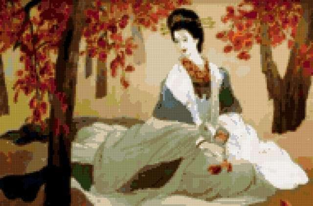Японская шелковая вышивка