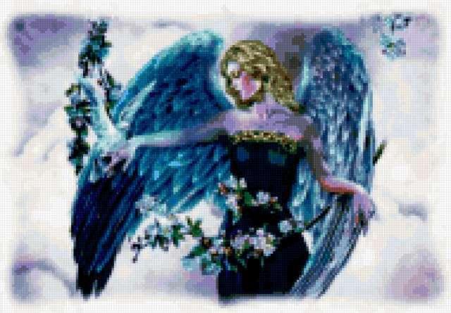 Голубой ангел с цветами,