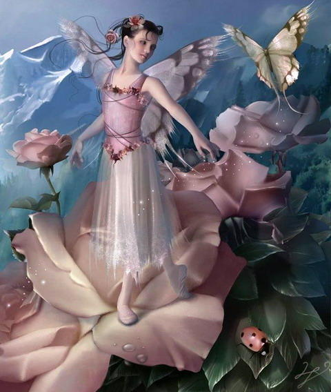 Девочка-эльф на розе, оригинал