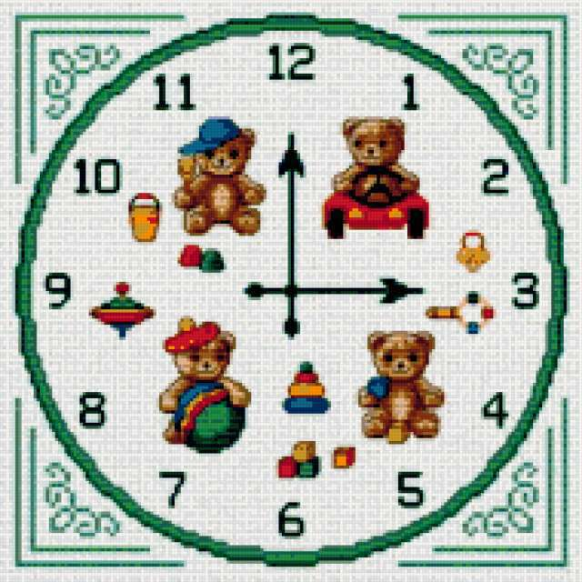 Вышитые часы, часы, игрушки,