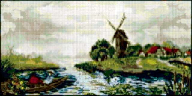 Голландия.пейзаж с лодкой.,