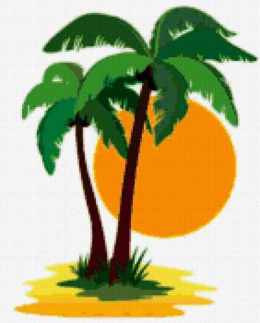 Лето, дерево, пальма, солнце,