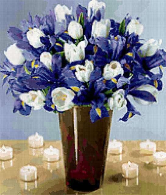 Белые тюльпаны и фиолет.ирисы,