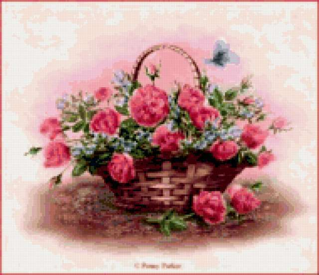 Корзина с розами, предпросмотр