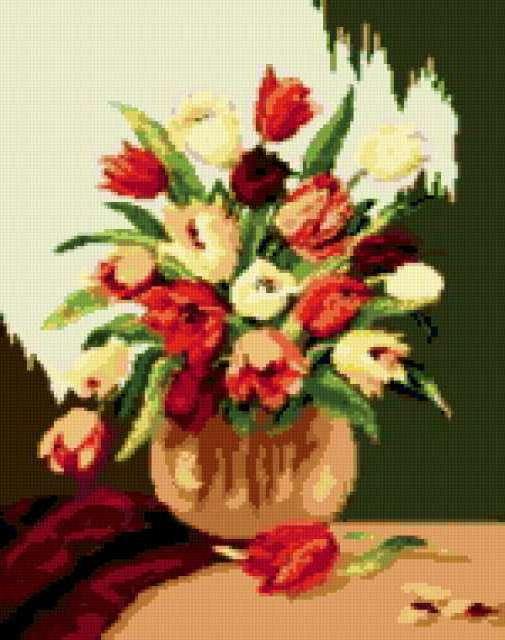 Схема вышивки крестом 'Ваза с тюльпанами'