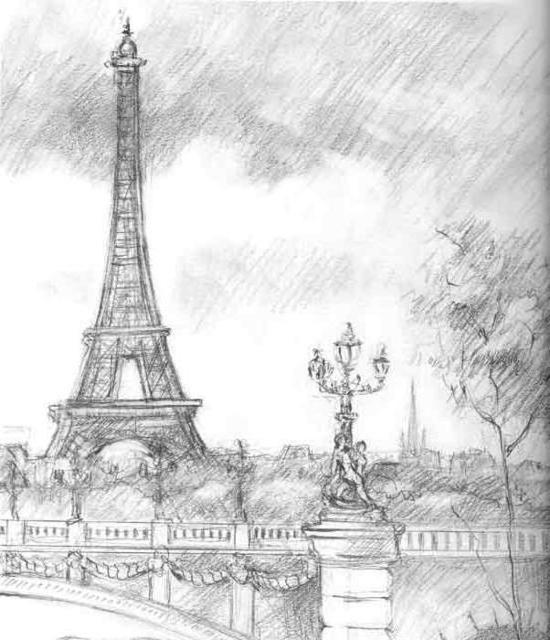 Париж, графика, оригинал