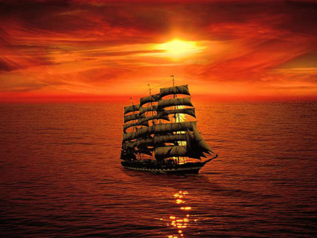 Закат в море, корабль, закат,
