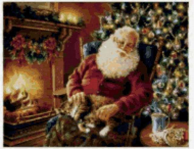 Санта у камина, предпросмотр