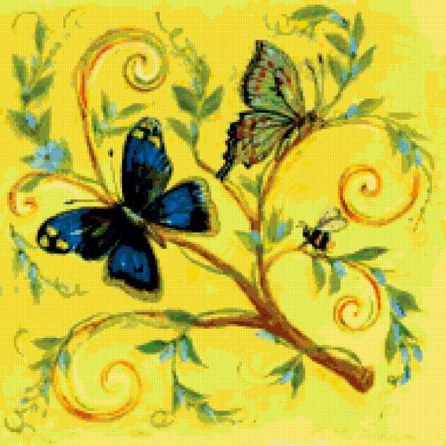бабочки, на желтом,