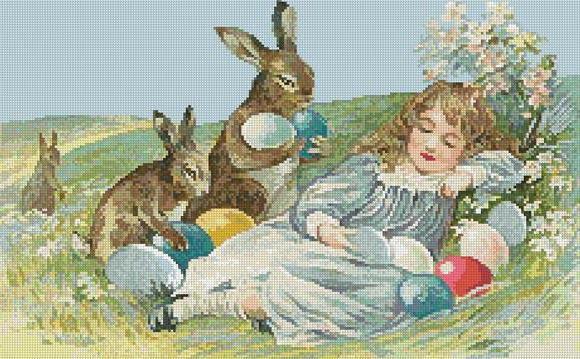 Девочка и пасхальные кролики,