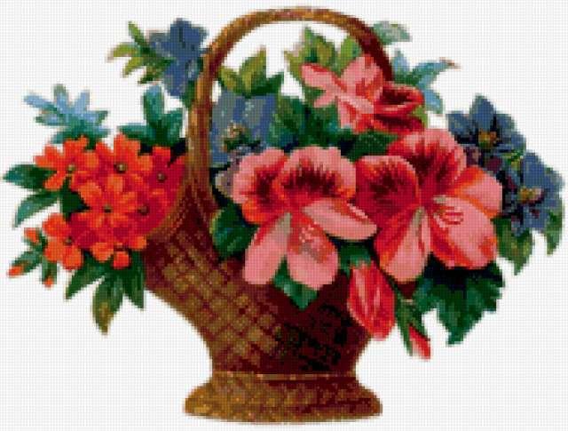 Корзинка с цветами, цветы,
