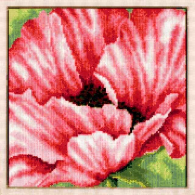 "Подушка "" мак"", цветы, птицы"