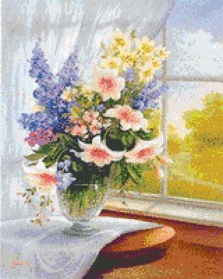 Цветы у окна, цветок, букет,