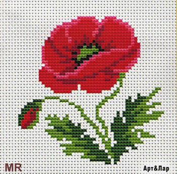 Вышивка крестом схема цветы маки