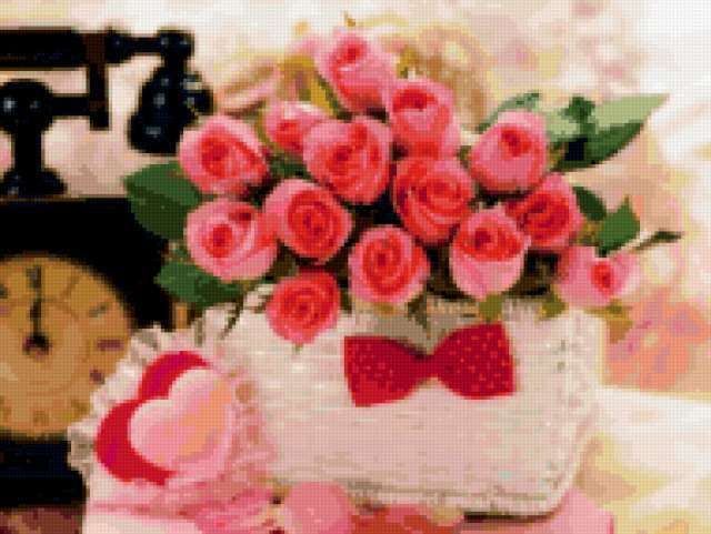 Часы и цветы, цветы, букет,