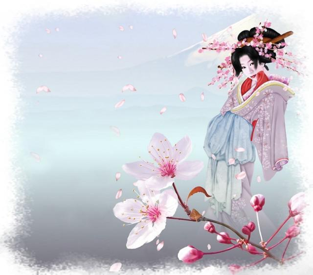 Цветущая сакура, сакура, гейша
