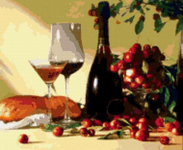 Натюрморт вино и черешня,