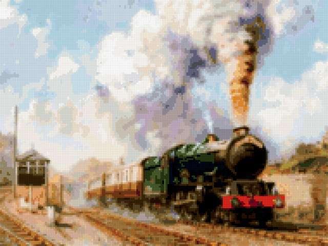 Паровоз, поезд, пейзаж, люди,