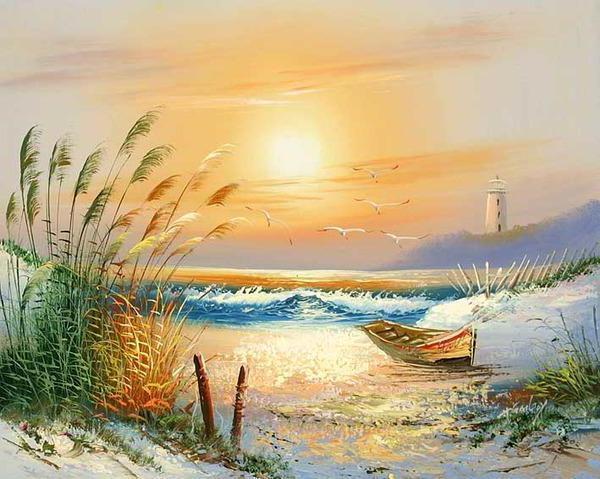 Морской пейзаж, море, волны,