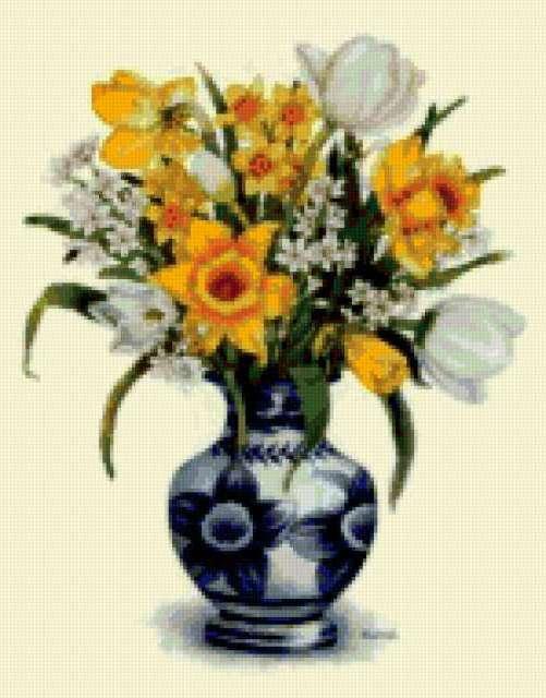Нарциссы и тюльпаны в вазе,