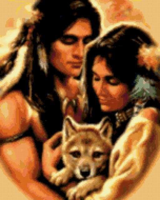 Семья, индейцы, волк, нежность