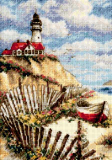 Старый маяк, маяк, лодка,
