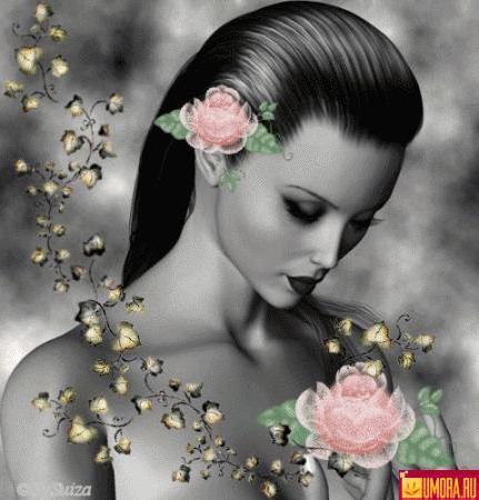 Девушка с розой, девушка, роза