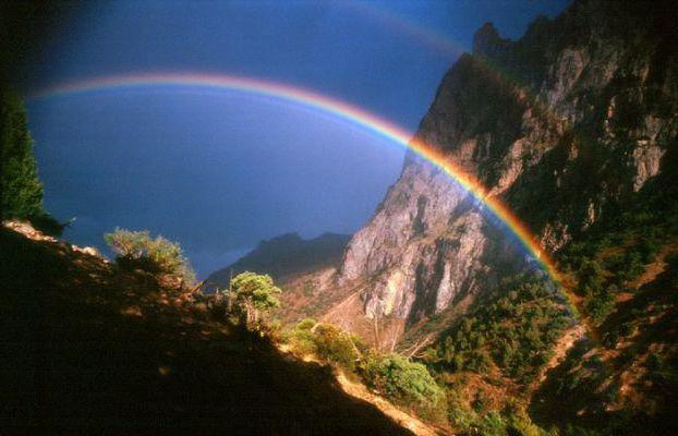 Радуга, радуга, горы, небо
