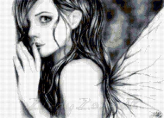 Девушка-бабочка, монохром