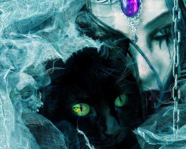 Ведьма с черным котом, ведьма,