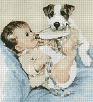 Puppy and a baby,