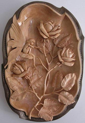 Резьба по дереву, цветы, розы