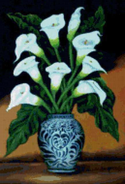 Каллы в вазе, предпросмотр