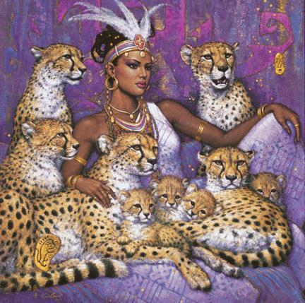 Woman with Leopards, женщина