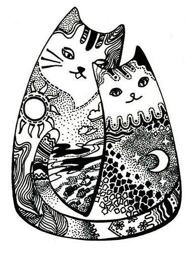 кошка монохром черно-белая