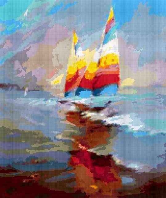 Яхты на восходе, предпросмотр