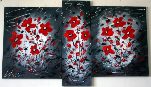 Triptych with Flowers, цветы