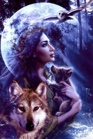 Woman with Wolf, природа