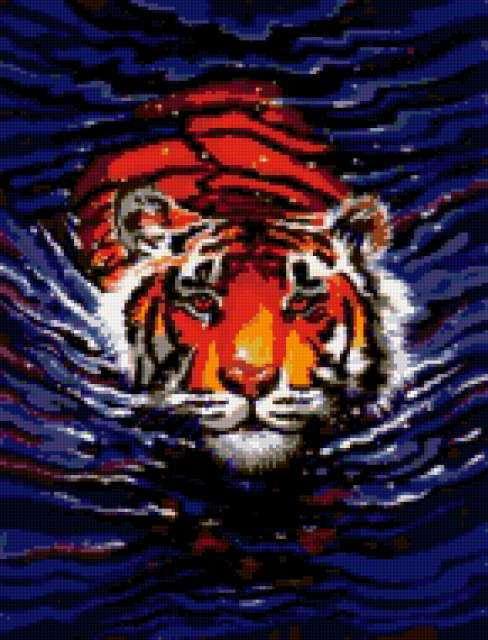 Плывущий тигр, предпросмотр