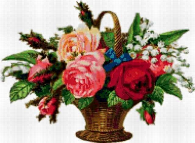 Букет в корзинке, цветы,