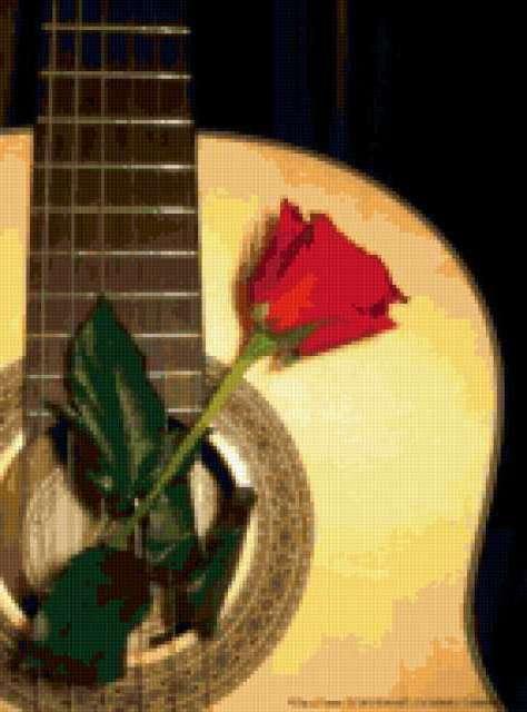 Гитара с розой, предпросмотр