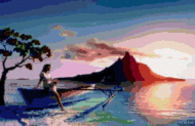 Восход солнца на берегу, море,